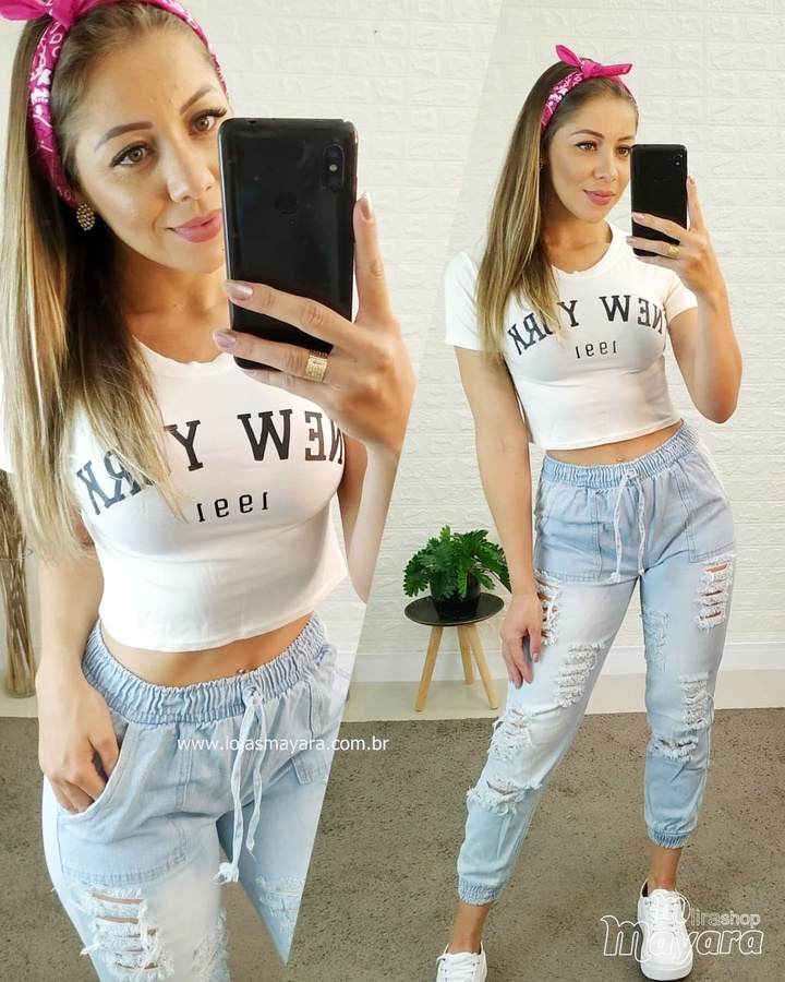 Cropped New York Off White