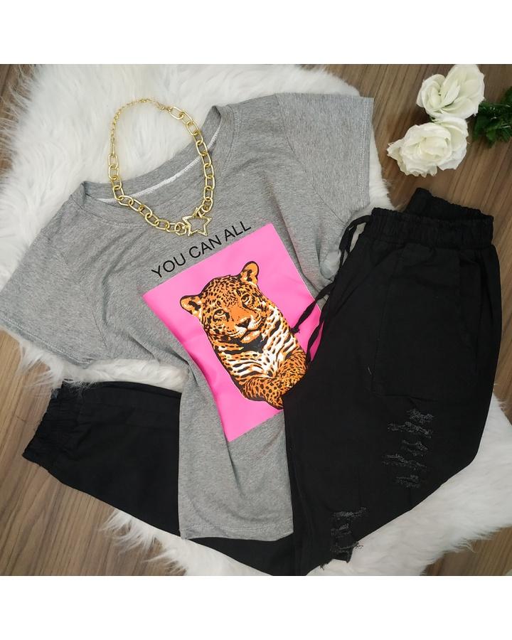 T-shirt Leopardo Cinza