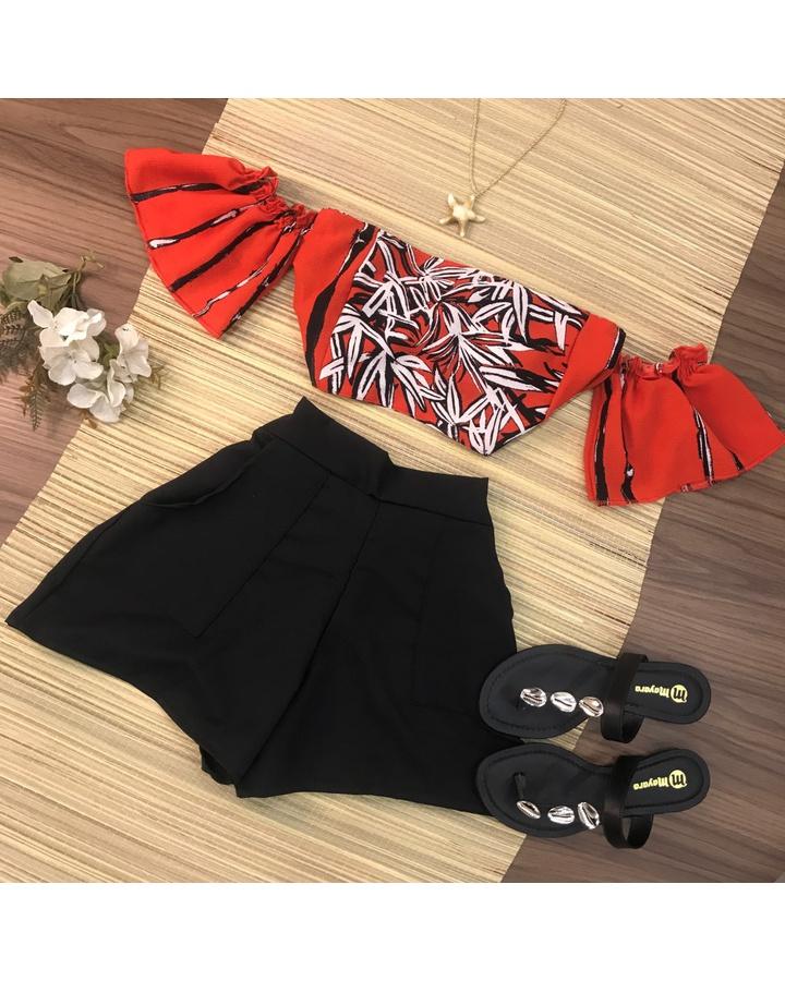 Conjunto 2 Peças Cropped e Shorts Vermelho e Preto