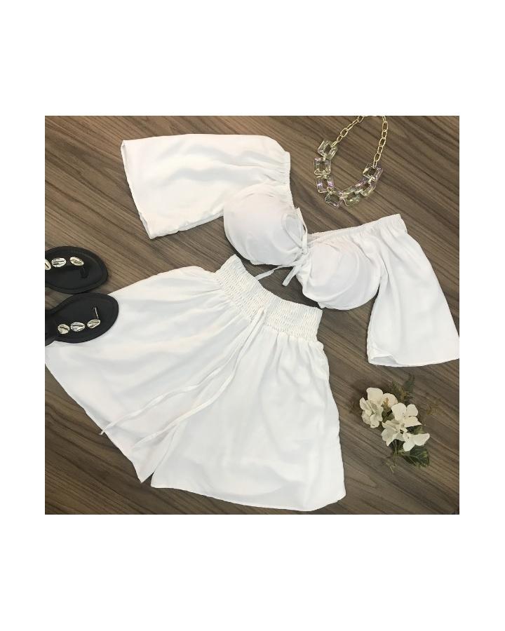 Conjunto Shorts e Cropped Ciganinha Branco