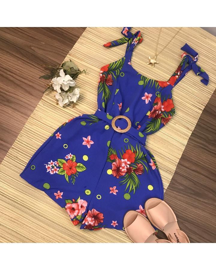 Macaquinho Floral Com Cinto Azul