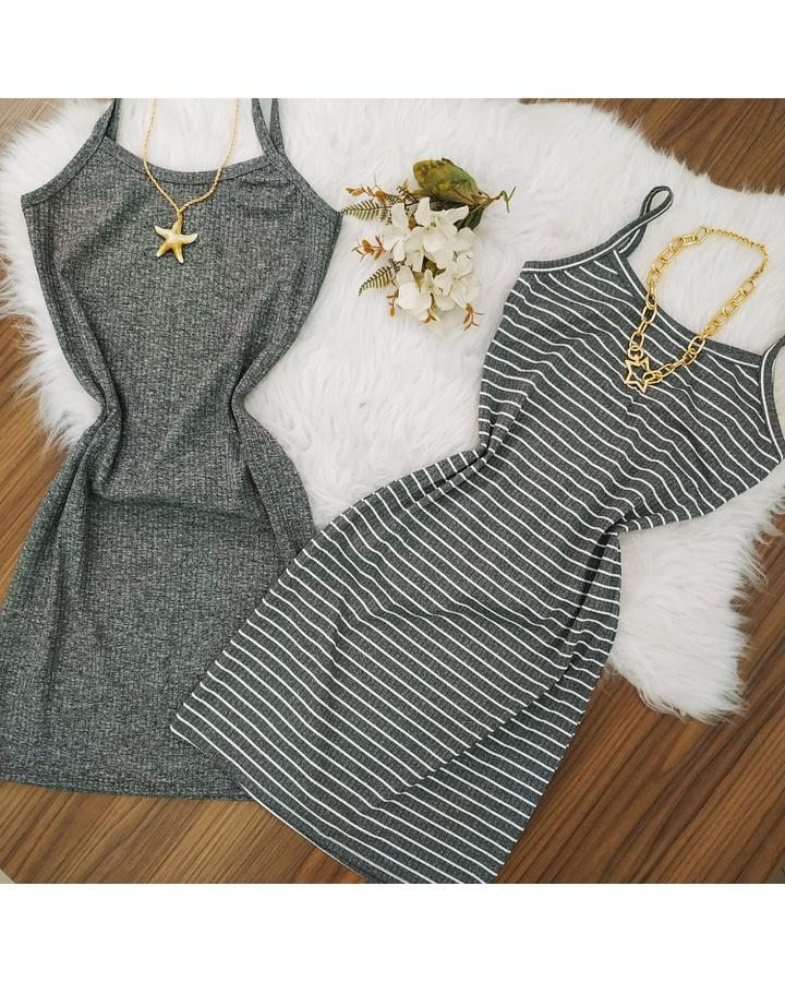 Vestido Canelado Curto Cinza