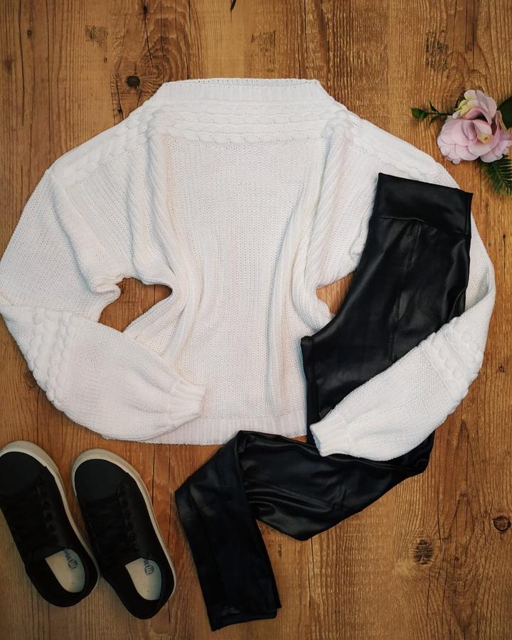 Blusa Tricô Trançado Off White