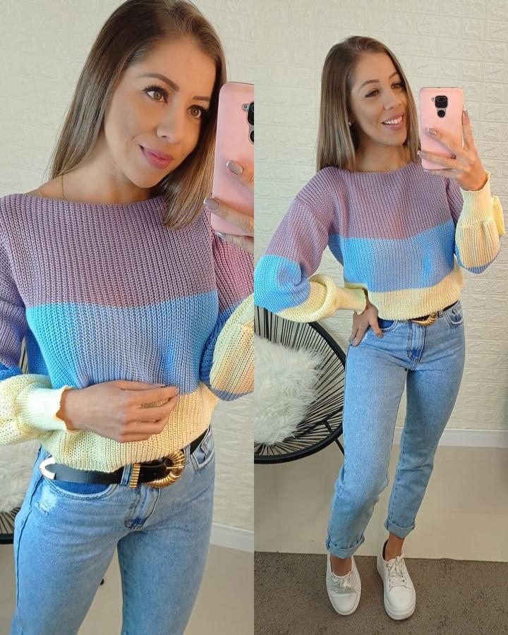 Blusa Tricô Lilás, Azul e Creme