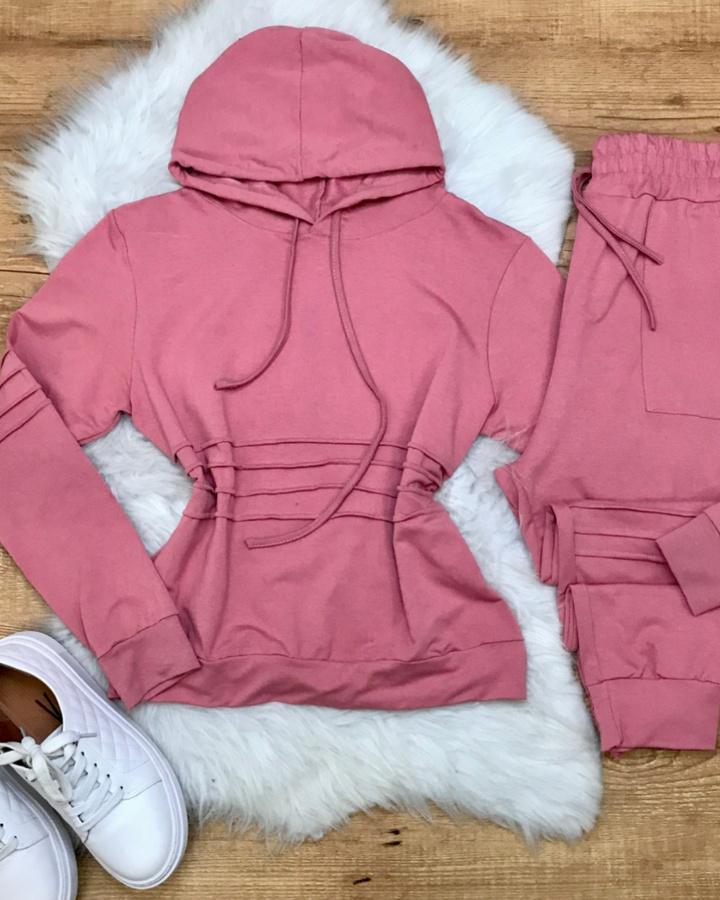 Conjunto Calça e Casaco Moletinho Rosa