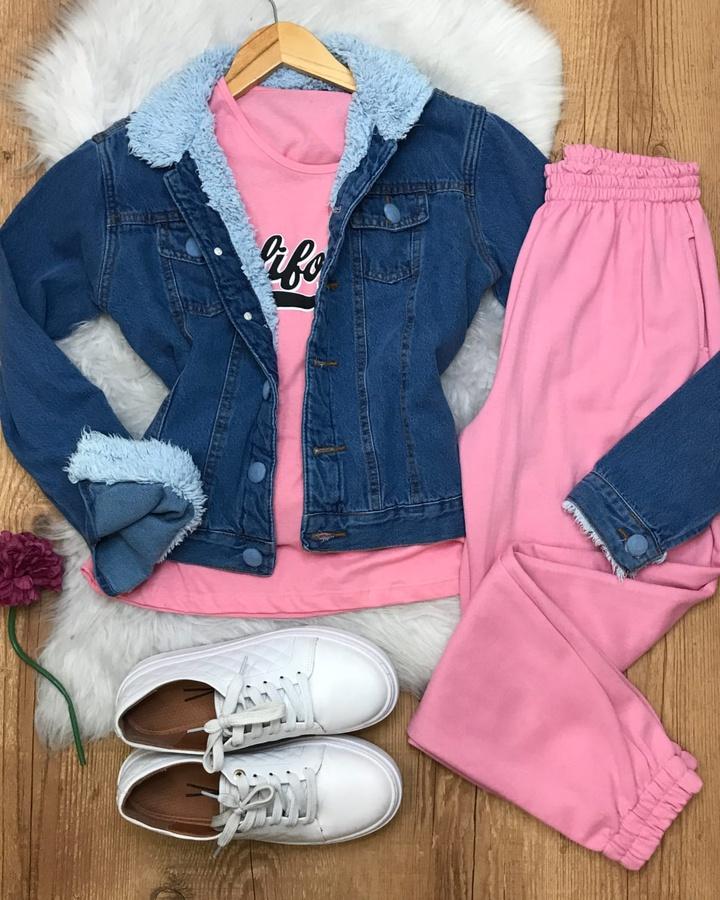 Jaqueta Jeans Forrada de Pelinhos Escura