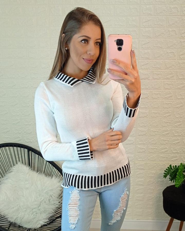 Blusa Tricô Branca com Preto