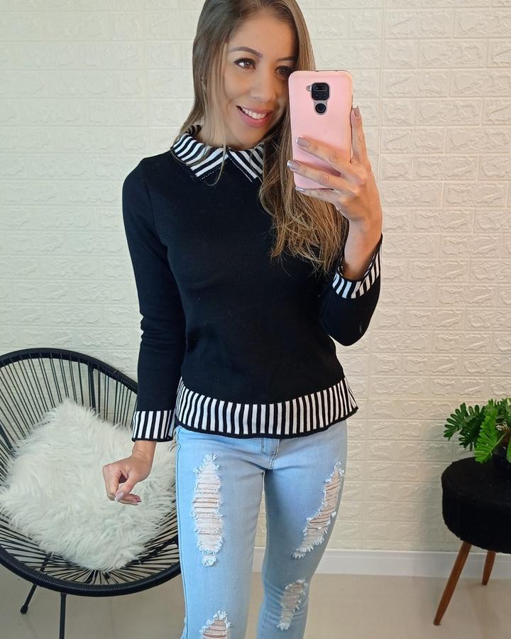 Blusa Tricô Preto com Branco