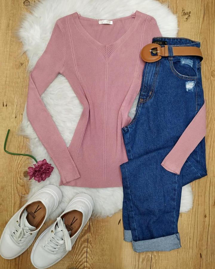 Blusa Tricô Canelado Decote V Rose