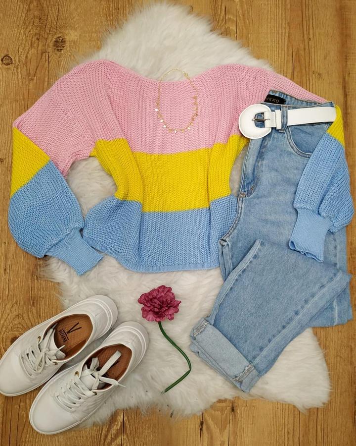 Blusa Tricô Rosa, Amarelo e Azul