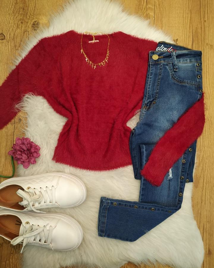 Blusa Cropped Pelinhos Vermelho