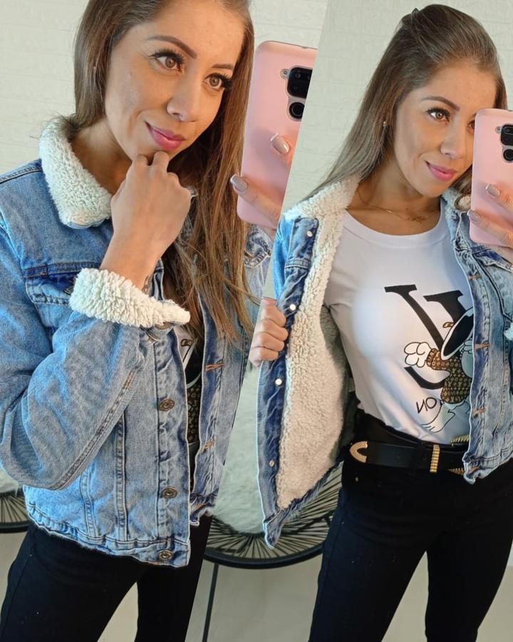 Jaqueta Jeans Forrada de Pelinhos Mescla