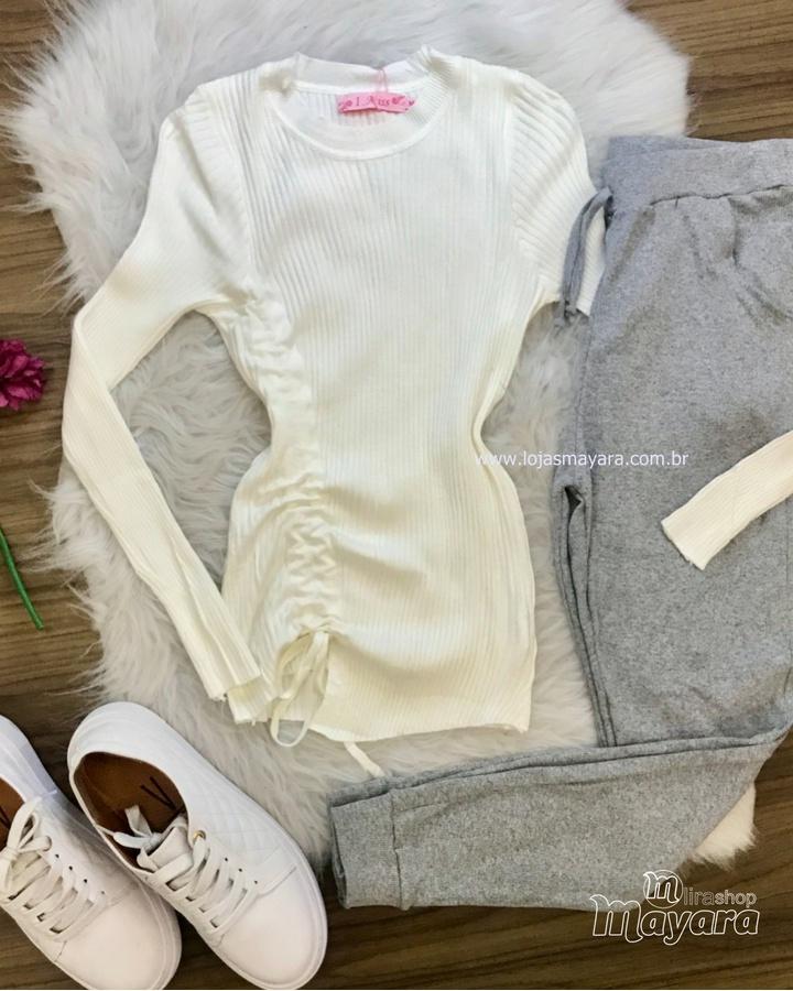 Blusa Tricô Canelado com Detalhe Lateral Off White