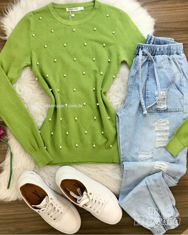 Blusa Tricô Perolas Verde