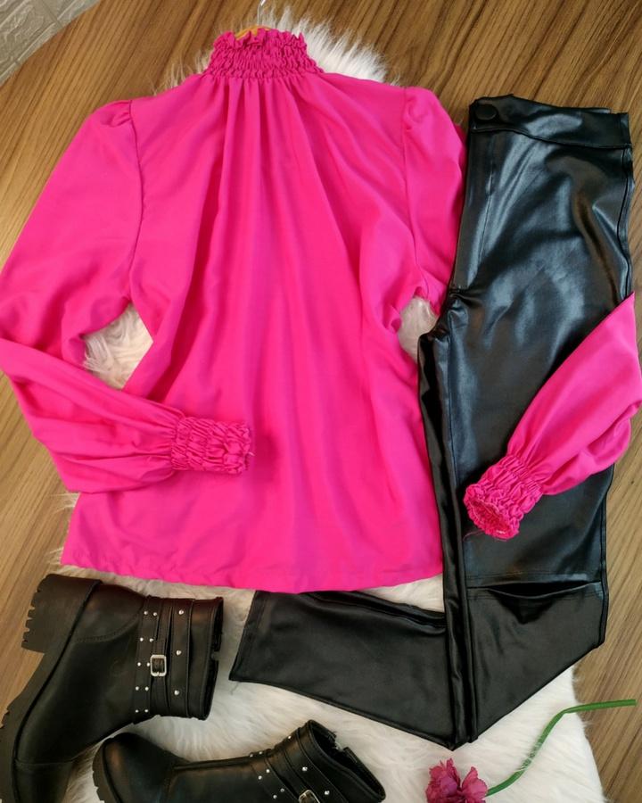 Camisa Gola Sanfonada Pink