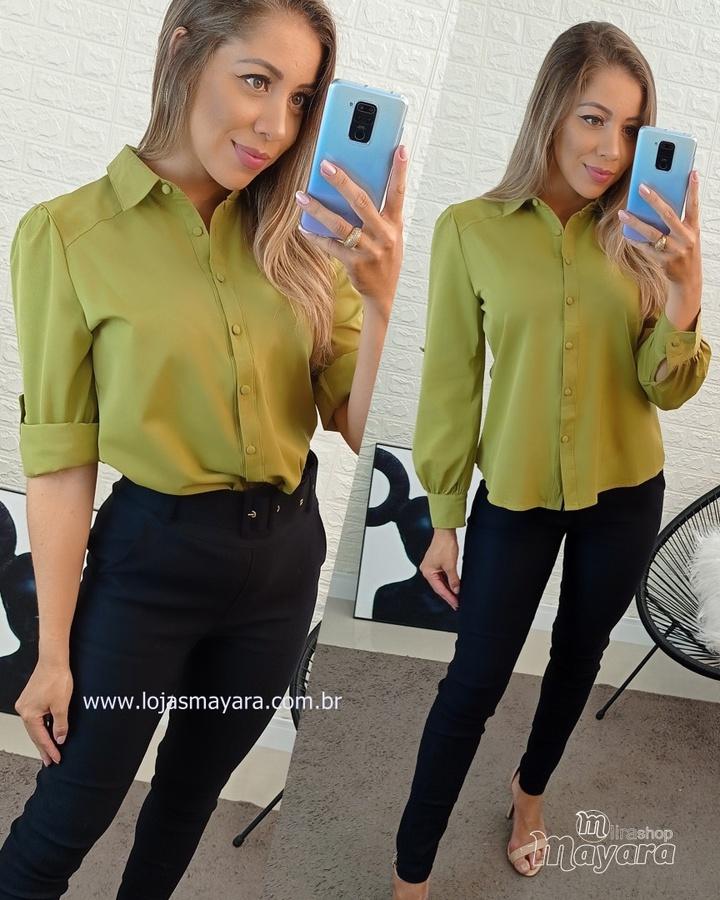 Camisa Social Botões Verde