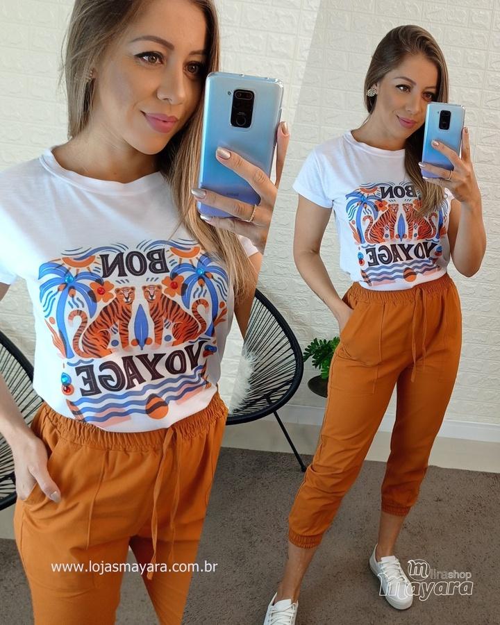 T-shirt Branco Com Tigre