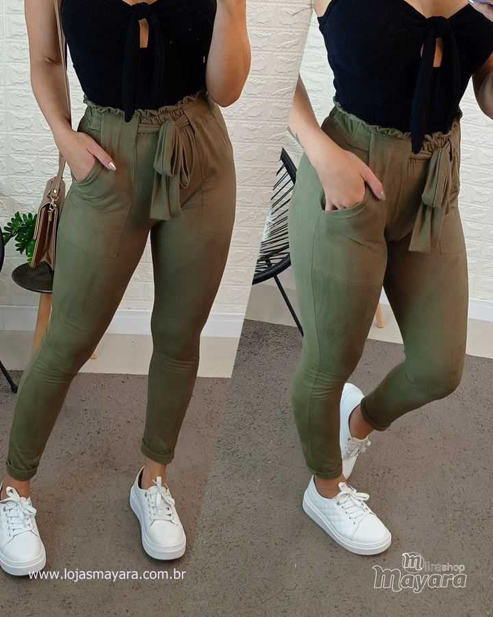 Calça Verde Militar Suede