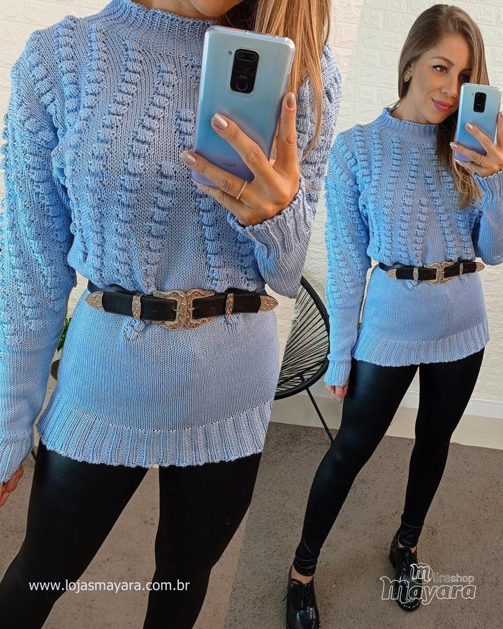 Blusa Trico Bufante Azul Claro