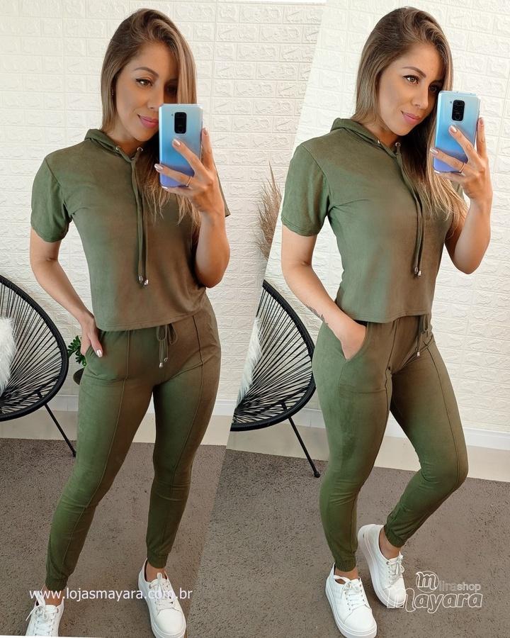 Conjunto Verde Calça e Blusa Suede
