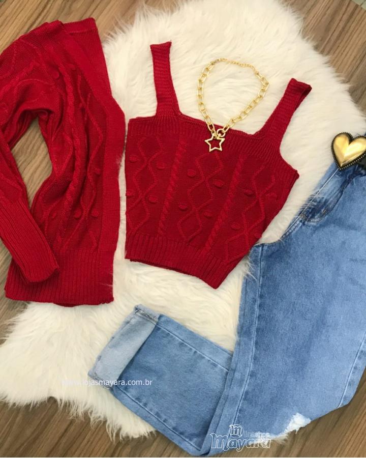 Twin Set Tricô Cropped e Casaco Vermelho