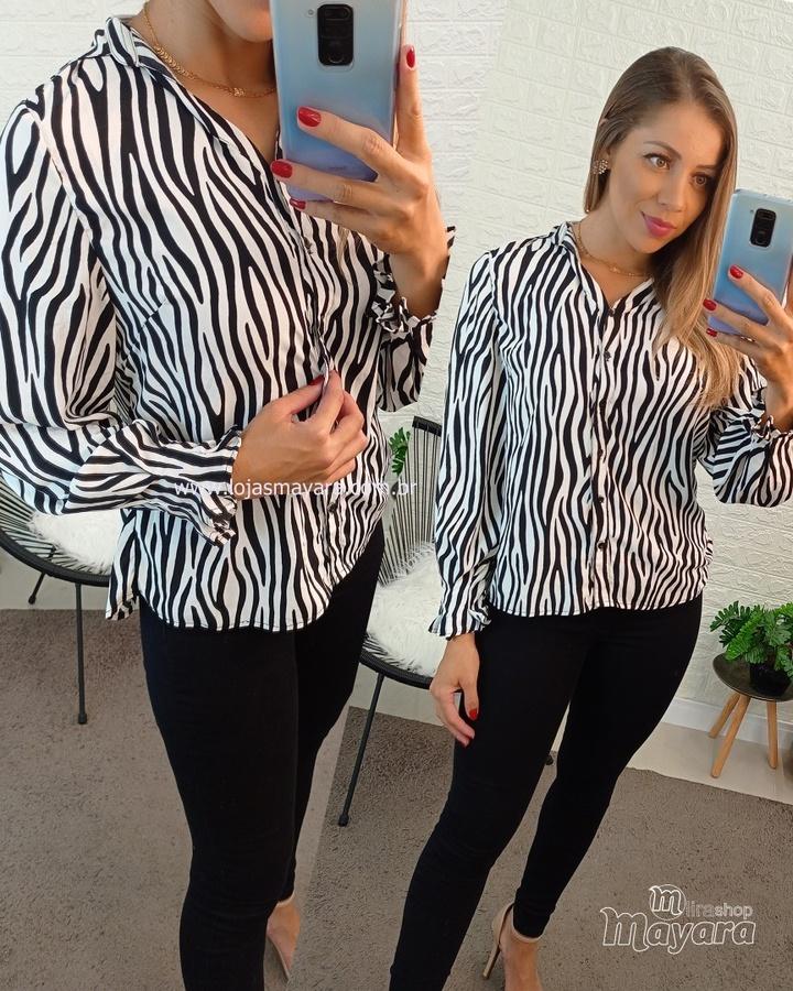 Camisa Animal Print Zebra Preta e Branca