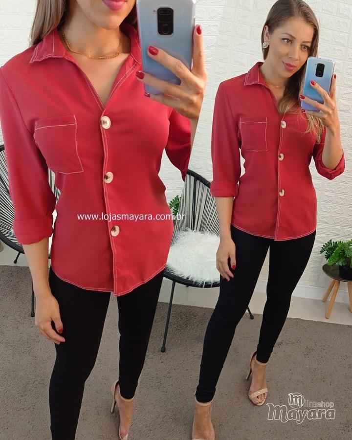 Camisa Com Bol... - lojas mayara lira shop