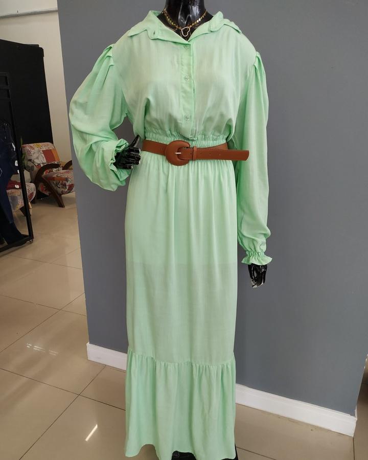 Vestido Longo Manga Princesa Verde
