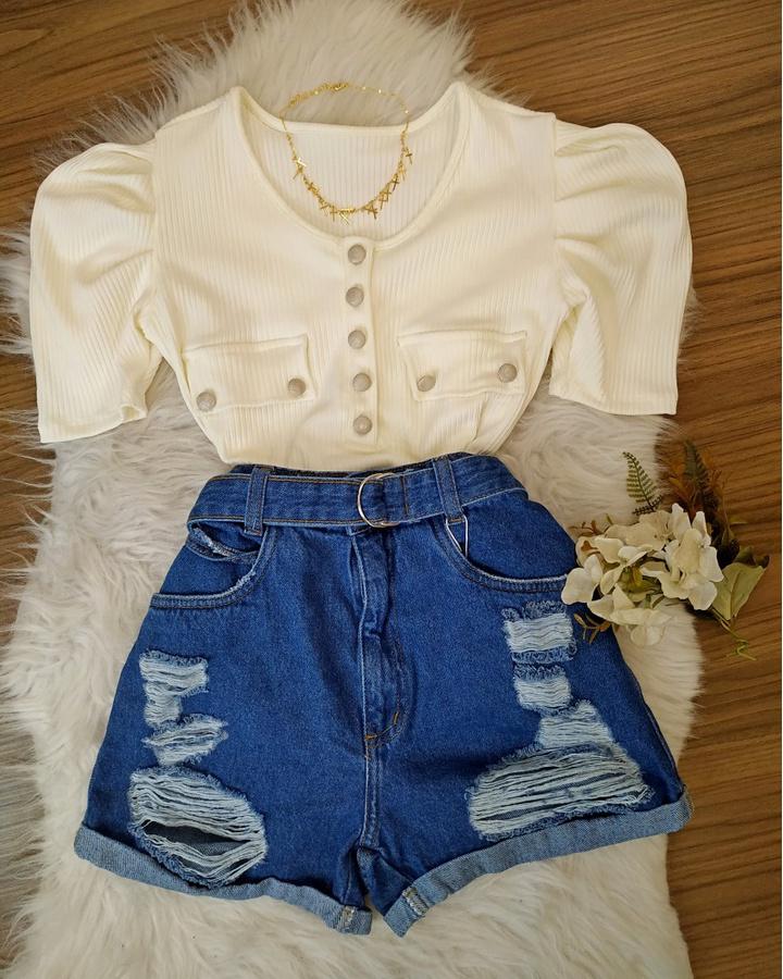 Shorts Jeans Mom Melinda Com Cinto De Argola
