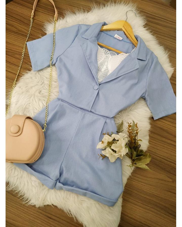 Conjunto Camisa e Shorts Azul