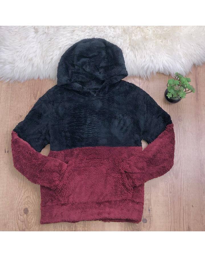 Casaco Peluciado 2 Cores (vermellho e Preto)