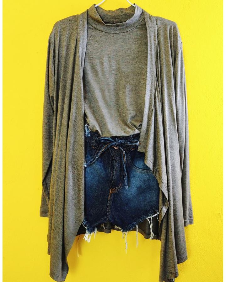Conjunto Kimono e Blusa - Cinza