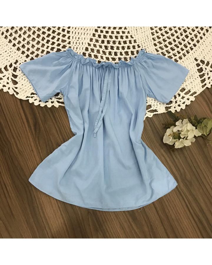 Blusa Ciganinha Azul Clara