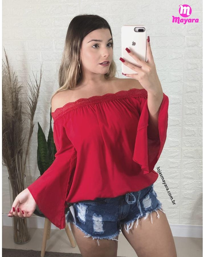 Blusa Bata Com Renda Vermelha