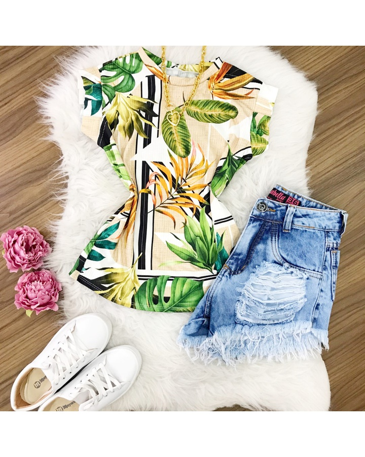 Blusa Ribana Floral Fundo Branco