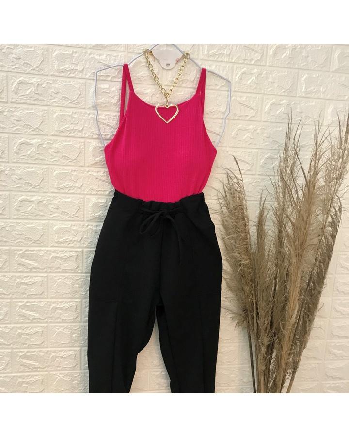 Body Canelado Decote Reto Pink