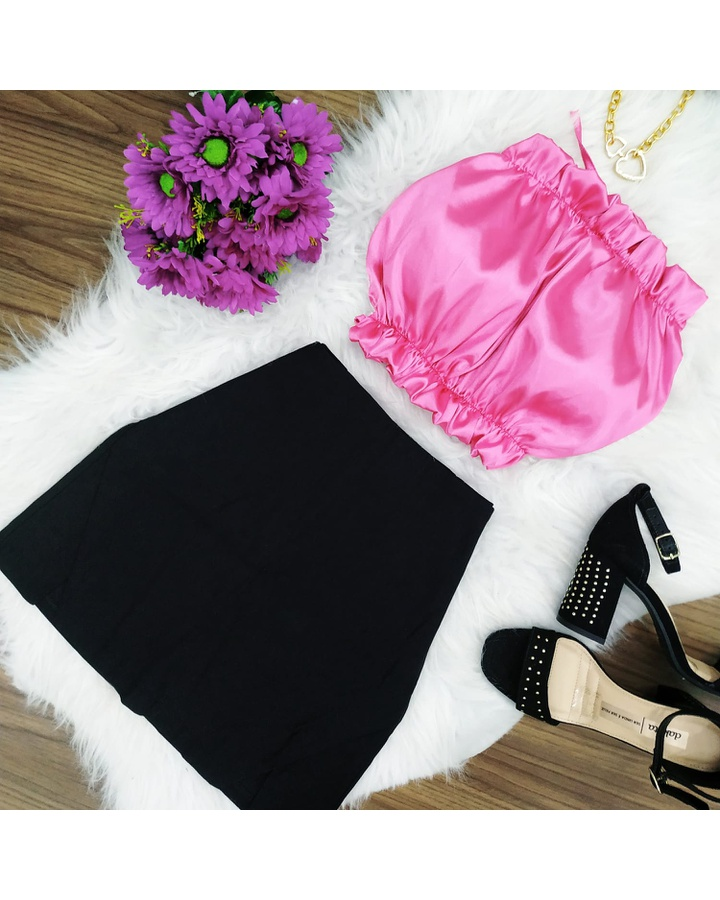 Top Frente Unica Cetim Pink