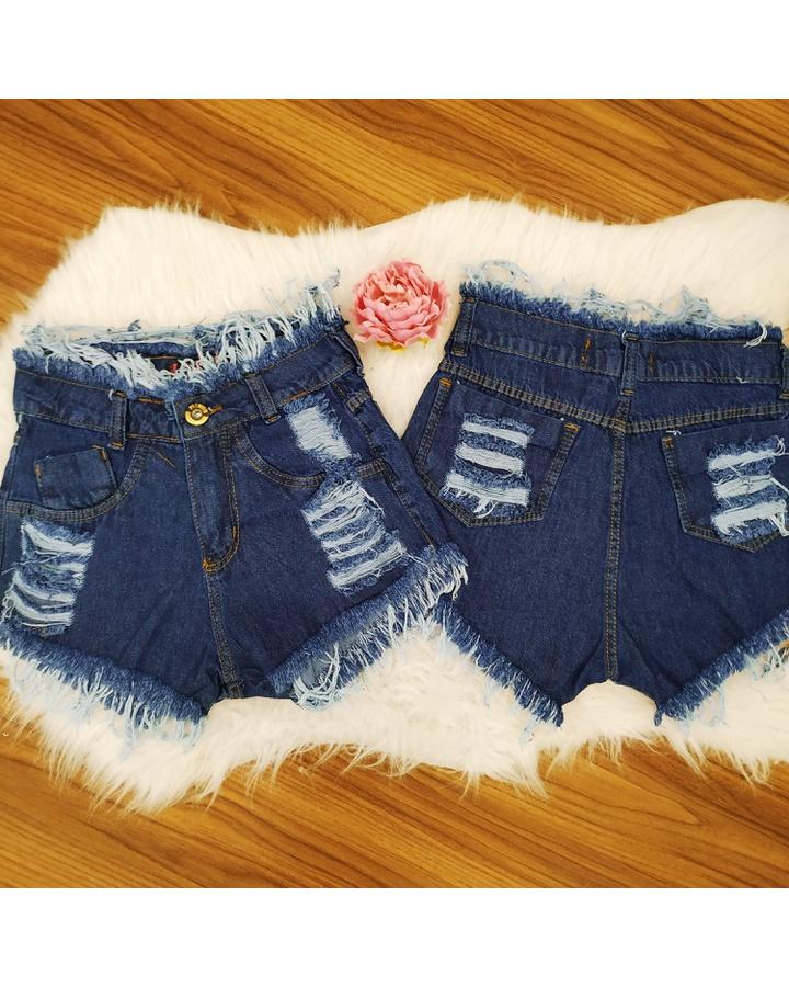 Shorts Jeans Desfiado Escuro