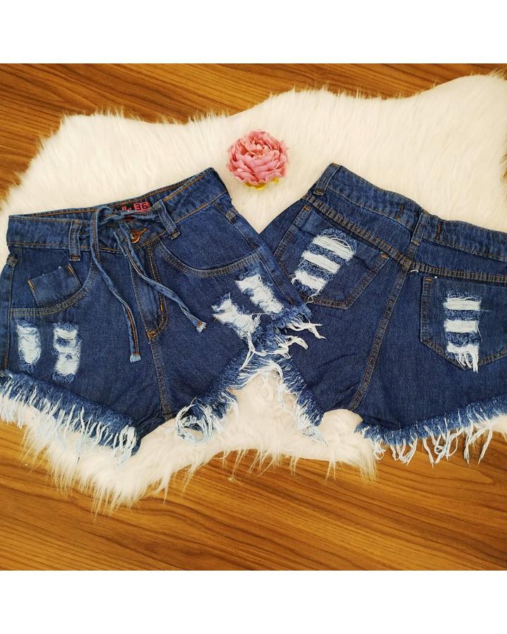Shorts Jeans Desfiado Cordão Escuro