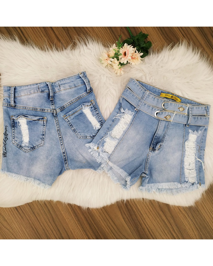 Shorts Jeans Pilily Cinto Duplo Claro