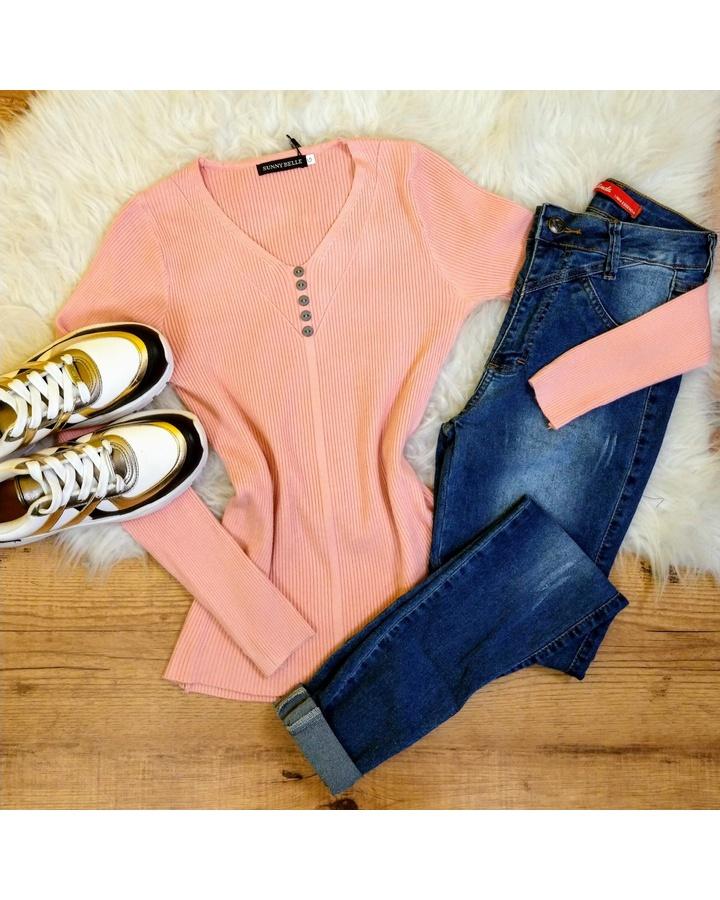 Blusa Canelada C/botões - Rosa