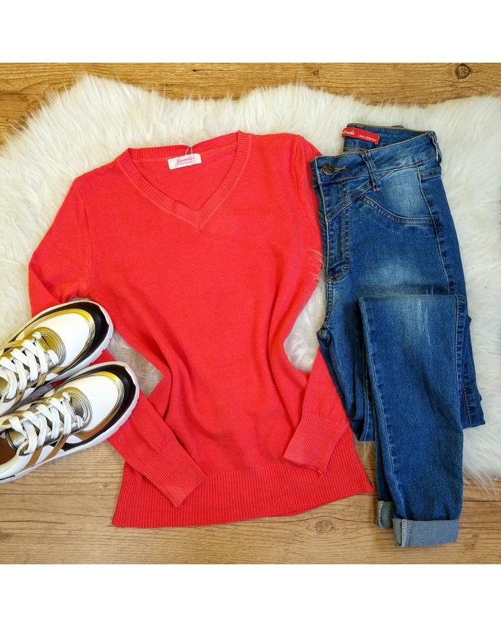 Blusa Trico Lisa - Coral