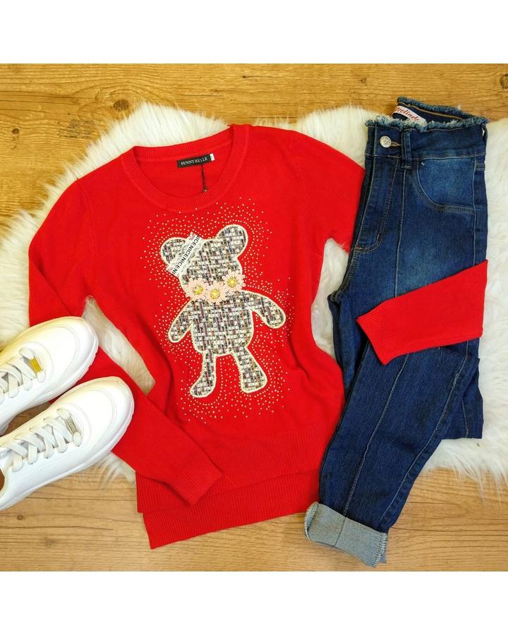 Blusa Tricot Ursinho Com Strass - Vermelho Tomate