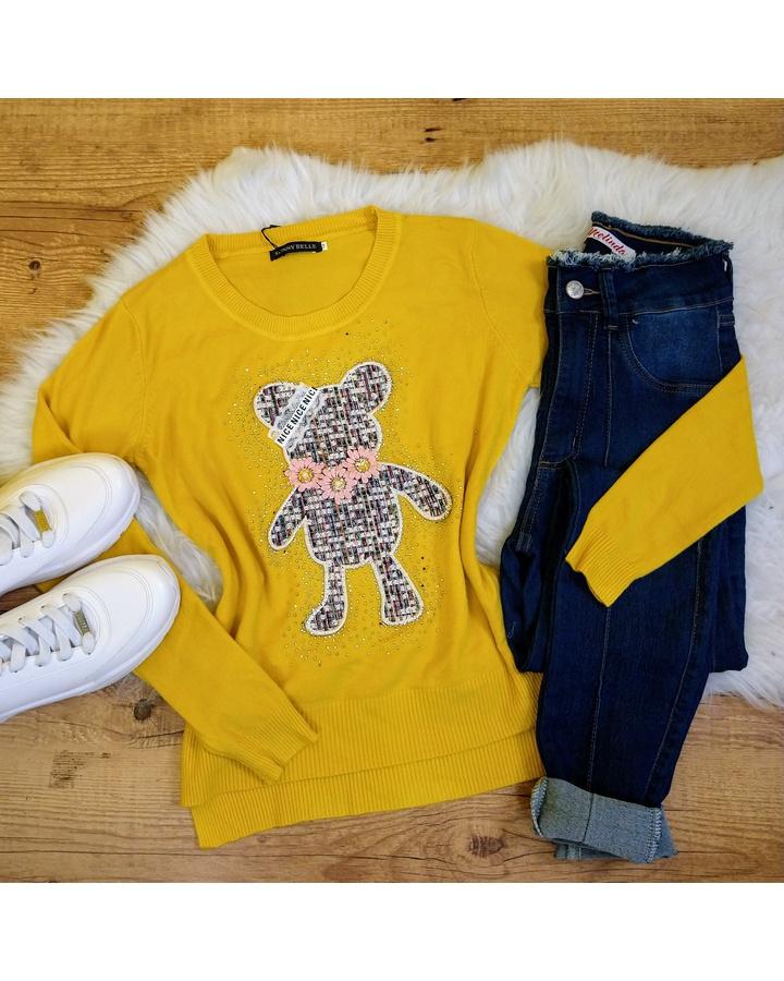 Blusa Tricot Ursinho Com Strass - Amarelo