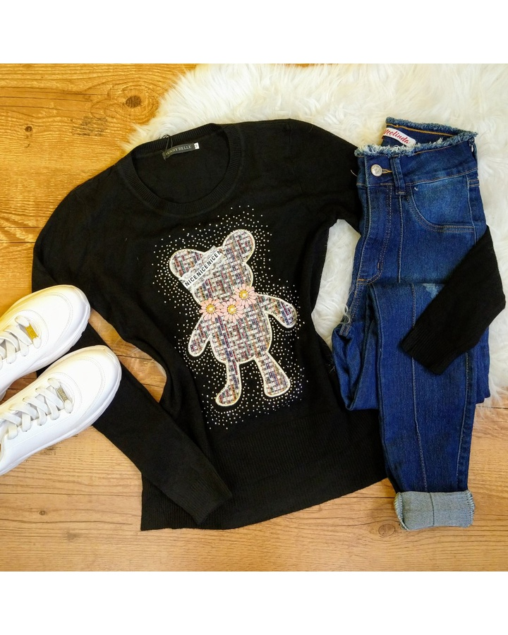 Blusa Tricot Ursinho Com Strass - Preto