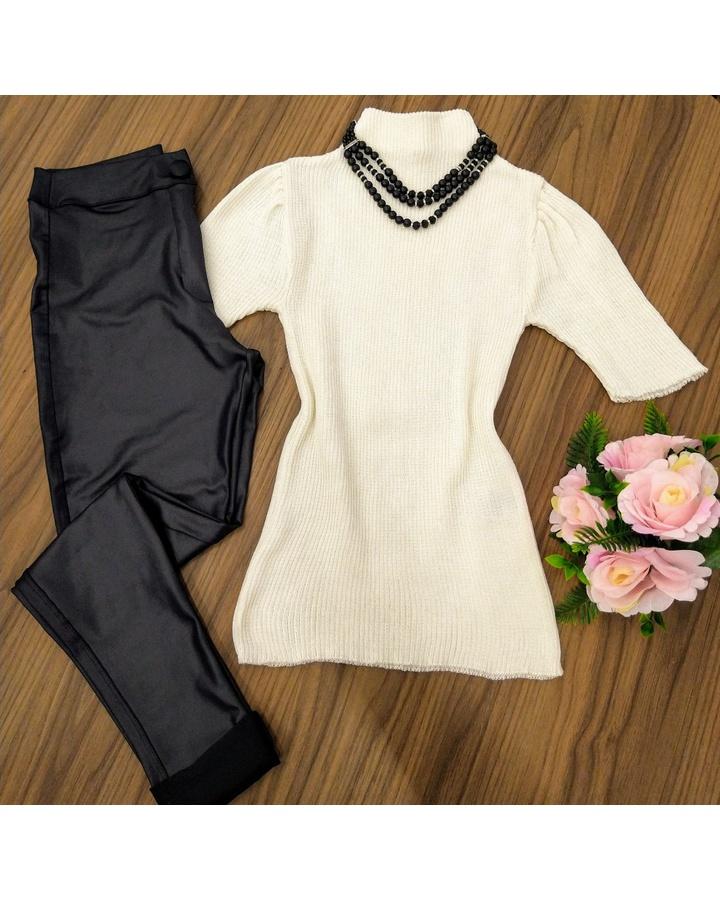 Blusa Trico Manga Curta C/ Gola - Branca