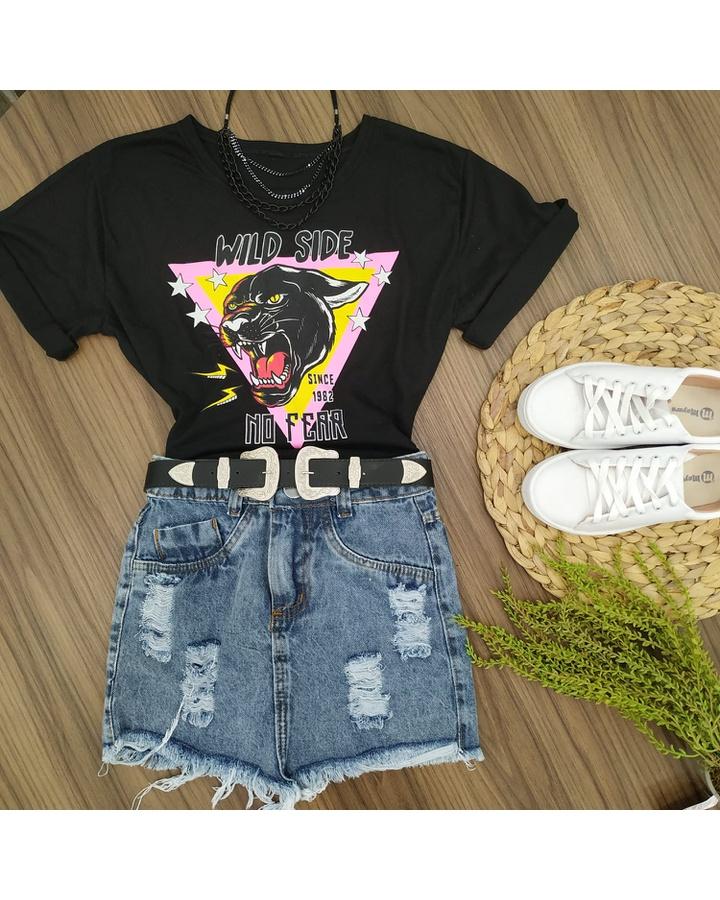 Cropped Malha Pantera Negra Preta