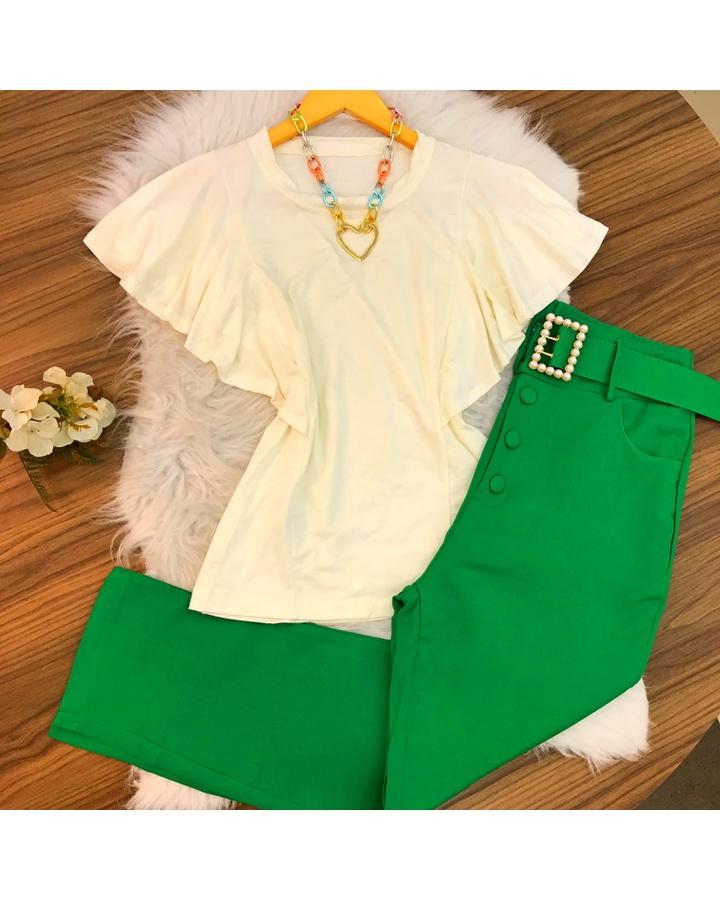 Calça Social Com Cinto Verde