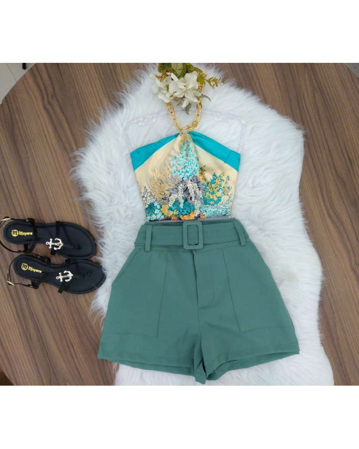 Shorts Alfaiataria C/ Cinto Verde