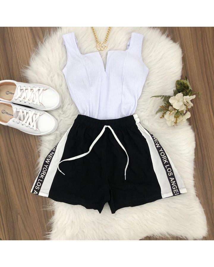 Shorts Preto Com Listra Branca Escrita Los Angeles